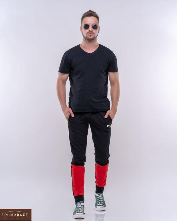Купить по скидке мужские спортивные штаны с комбинацией цветов (размер 46-52) красного цвета