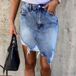 Заказать синюю женскую джинсовую асимметричную юбку с рваностями онлайн