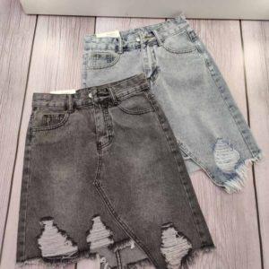 Приобрести женскую черную, голубую джинсовую асимметричную юбку с рваностями в интернете