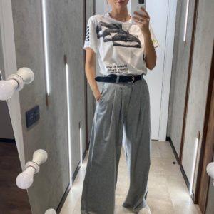 Заказать женские серые брюки палаццо из шерсти онлайн