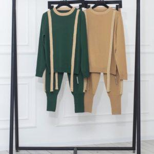 Заказать женский вязаный беж, зеленый костюм с имитацией подтяжек онлайн