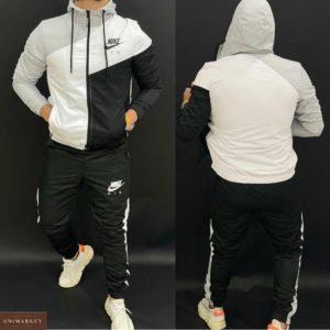 Купить мужской серый трехцветный спортивный костюм Nike на змейке (размер 46-52) по скидке