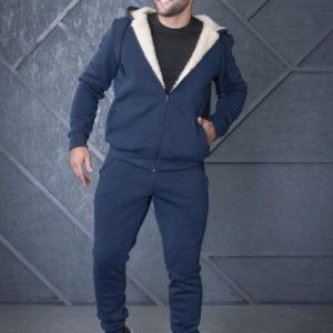 Заказать синего цвета зимний костюм с мехом из овчины для мужчин (размер 44-56) онлайн