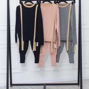 Купить дешево женский черный, пудра, серый вязаный костюм с имитацией подтяжек