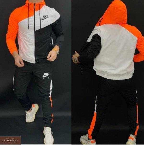 Приобрести оранжевый мужской трехцветный спортивный костюм Nike на змейке (размер 46-52) по скидке
