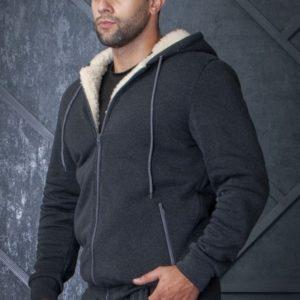 Приобрести серого цвета мужской зимний костюм с мехом из овчины (размер 44-56) дешево