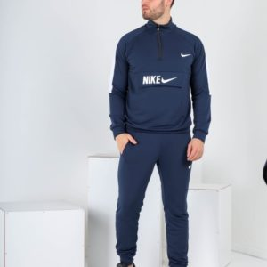 Заказать в интернете синий спортивный костюм Nike с поло на змейке (размер 46-52) для мужчин