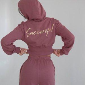Заказать недорого цвета пудра Спортивный костюм c вышивкой на спине для женщин и резинкой на талии