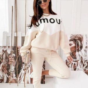 Приобрести недорого женский спортивный костюм из трикотажа Amour (размер 42-52) бежевого цвета