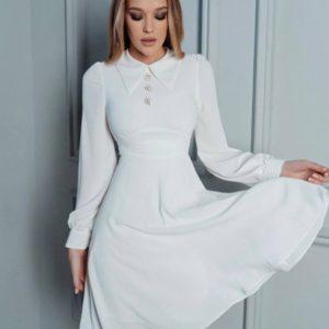Купить недорого женское платье с воротником А-силуэта белого цвета
