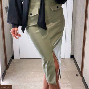 Заказать оливковую женскую юбку миди с разрезом из эко кожи выгодно