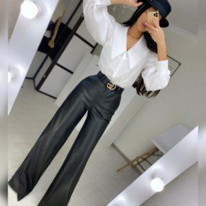Купить недорого брюки черные из эко кожи на замше для женщин