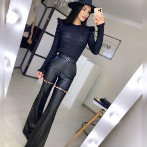 Приобрести онлайн женские брюки клеш из эко кожи черные с застежками выгодно