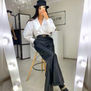 Приобрести брюки для женщин из эко кожи черные на замше в Украине