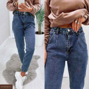 Заказать синие женские джинсы мом из денима в интернете