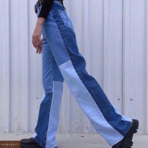Заказать онлайн женские джинсы клеш с вставками сине-голубые
