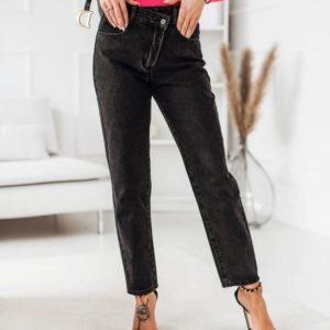 Заказать онлайн женские джинсы мом с необычной застежкой черного цвета