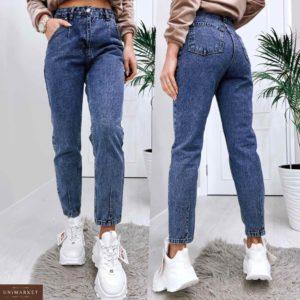 Купить женские джинсы мом синего цвета из денима в Украине