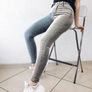 Заказать голубые, серые джинсы скинни женские стрейчевые двухцветные в интернете