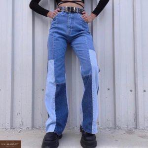 Купить на сайте женские джинсы клеш с вставками синие хорошего качества