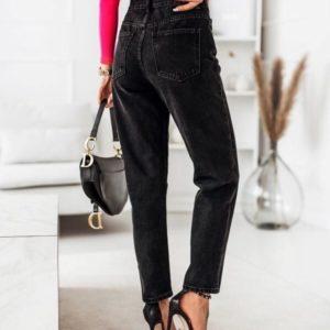 Приобрести модные женские джинсы мом с необычной застежкой черного цвета по низким ценам