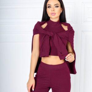Купить по низким ценам вишневый трикотажный костюм тройка с топом под шею (размер 42-52) для женщин