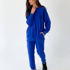 Заказать синего цвета модный спортивный костюм свободного кроя однотонный для женщин (размер 42-50) в Украине онлайн