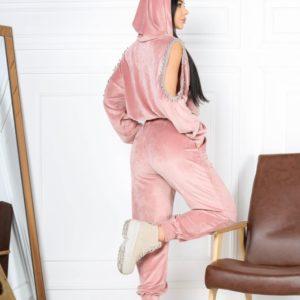 Купить онлайн пудра спортивный костюм из стрейчевого велюра для женщин с декором на рукавах (размер 42-48)