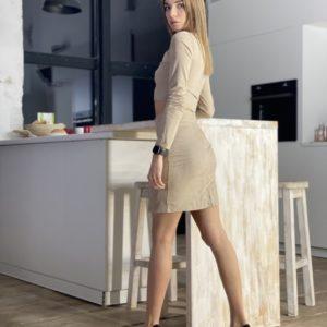 Купить бежевый замшевый костюм: топ + юбка с разрезом для женщин по скидке
