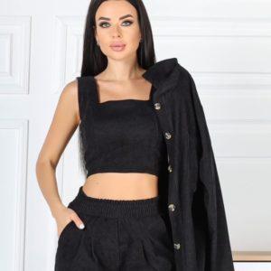 Купить черный вельветовый костюм тройка для женщин: штаны, рубашка, топ (размер 42-48) онлайн