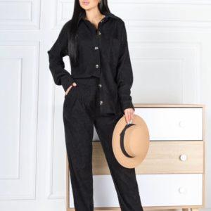 Заказать черный женский вельветовый костюм тройка: штаны, рубашка, топ (размер 42-48) в Украине