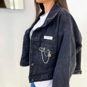 Купить черную короткую темную для женщин джинсовую куртку в Украине