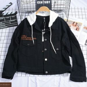 Купить куртку женскую из цветного джинса онлайн черную с трикотажным капюшоном