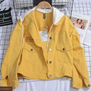Приобрести по низким ценам цвета горчица куртку из цветного джинса с трикотажным капюшоном для женщин
