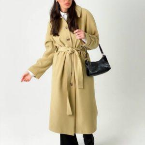 Заказать бежевое пальто для женщин миди на пуговицах с поясом (размер 42-48) на весну онлайн