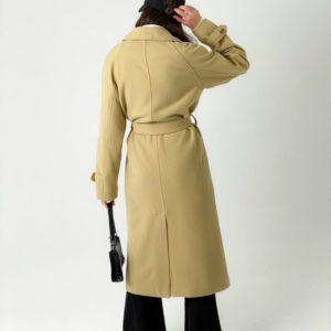Купить стильное на весну пальто миди на пуговицах бежевое с поясом (размер 42-48) для женщин онлайн