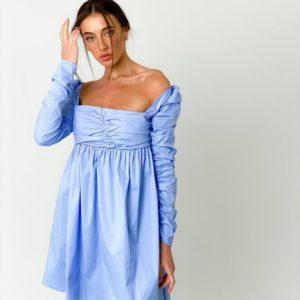 Заказать онлайн милое голубое платье для женщин с оборками и длинным рукавом в Украине