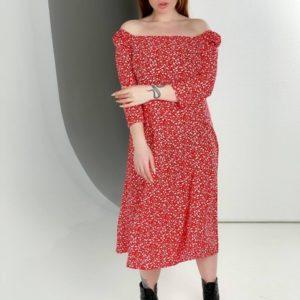 Купить красное цветочное женское платье миди с квадратным вырезом (размер 40-54) на распродаже
