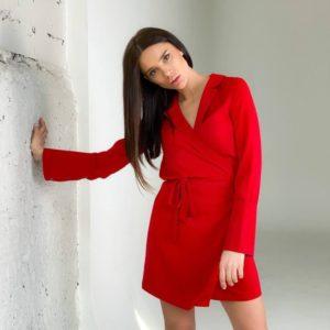 Заказать недорого женское шелковое платье -пиджак красное на запах с поясом (размер 42-48)