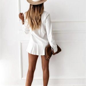 Заказать женское укороченное белое платье-рубашка с плиссировкой по скидке
