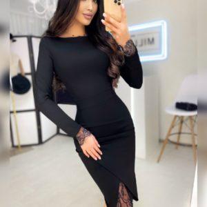 Купить женское черное платье с длинным рукавом и тонким кружевом дешево