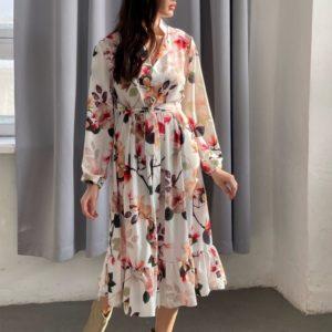 Заказать белое женское цветочное платье миди с длинным рукавом (размер 42-52) в интернете