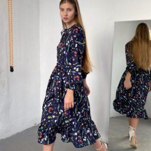 Купить недорого синее цветочное платье для женщин с завязкой на шее (размер 42-52)