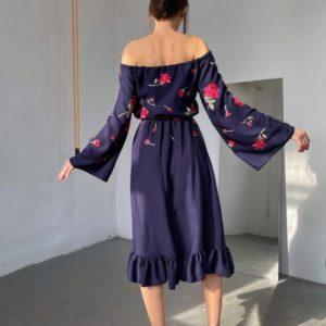 Приобрести недорого платье миди с цветами синее и открытыми плечами (размер 42-52) для женщин