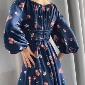Купить синее платье в цветы женское с длинным рукавом и шнуровкой на спине (размер 42-52) по низким ценам