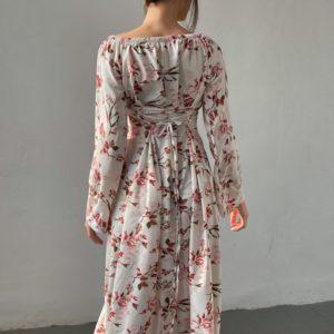 Купить на распродаже женское элегантное платье в цветы с завязками на спине (размер 42-52) белого цвета