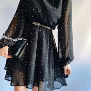 Купить черное шифоновое платье женское в горошек с поясом в Украине по скидке