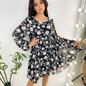 Купить в интернете женское шифоновое платье в цветочный принт черное с поясом