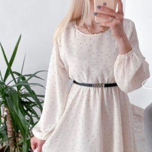 Приобрести белого цвета шифоновое платье для женщин в горошек с поясом недорого