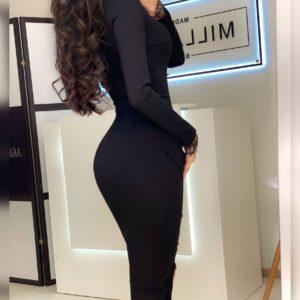 Заказать черного цвета для женщин платье с длинным рукавом и тонким кружевом онлайн
